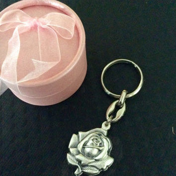 Saint Benedict Key Chain Saint Benedetto Medal Silver Key Ring Protection Sliding Rose Protection Inspirational Gift