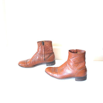 size 8 mens ankle boots / vintage 1960s MOD rocker BEATLE side zipper RETRO booties