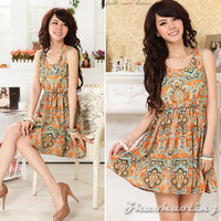 Fashion Women Summer Crew Neck Sleeveless Print Chiffon Casual Mini Dress Size S