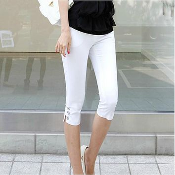 Women Pants Calf S-3xl White