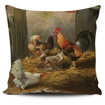 Vintage Pillow Cover Chickens Farmhouse Chic Home Decor