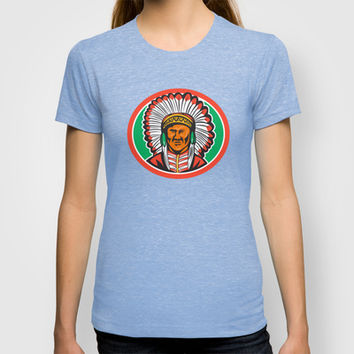 Native American Indian Chief Headdress T-shirt by patrimonio