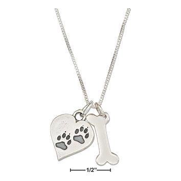 """Sterling Silver Necklace:  18"""" Dog Bone Necklace With Dog Paw Prints Heart Charm"""