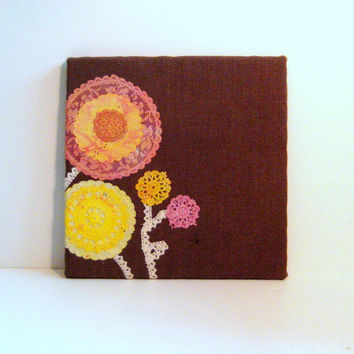 Bulletin Board made from Burlap and Lace with vintage tie died embroidered doily flowers, Flower Memo Board, retro girl decor