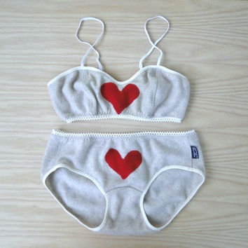 Red heart cashmere lingerie set, Valentines gift for her, neutral grey red heart bra and panties set - washable