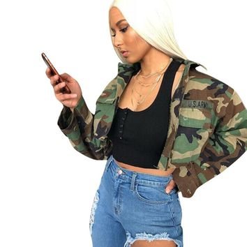 Trendy 2018 Autumn Women's Vintage Camouflage Army Green Jacket Turn-down Slim Casual fashion Button pocket female Bomber Coats Outwear AT_94_13