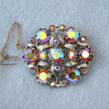 AB Rhinestone Brooch with Safety Chain Pin Vintage