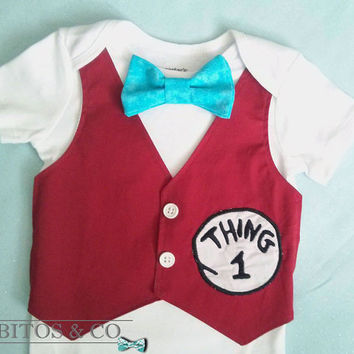 4793b8cb Dr Seuss Boy Bodysuit - Thing One Vest Bodysuit - Boy First Bir. Baby ...