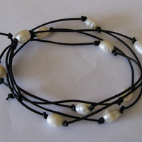 ON SALE leather pearl necklace