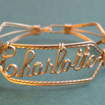 Charlotte - Vintage Wire Name Bracelet, 7 inches, Vintage Costume Jewelry 1950s 1960s