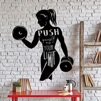 Wall Vinyl Decal Sport Quote Words Push Your Limits Gym Interior Decor Unique Gift z4379