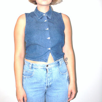 90s vintage denim crop top 1990s grunge minimalist chambray sleeveless blouse jean shirt small