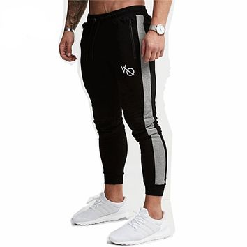 Men Sweatpants Jogger Black Casual Elastic cotton GYMS Fitness Workout pants