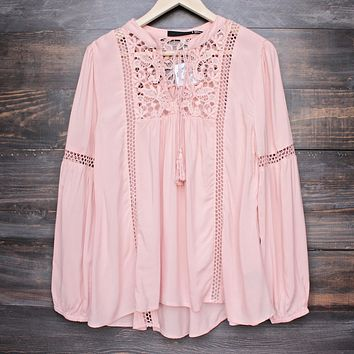 Final Sale - Boho Sleeve Peasant Blouse with Lace Inset - Dark Salmon