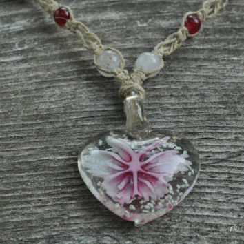 Murano Lampwork - Butterfly Heart Pendant- Fluorescent - Hemp Cord - Hand Knotted Lacy Macrame - Jade - Glass Pendant - Pink - White - Red