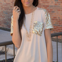 Beige Met @ The Roxbury Sequin Pocket Top