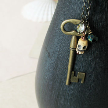 Skeleton Key Long Necklace - Vintage Inspired Key To Buried Treasure - Rustic Boho Chic