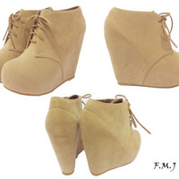 FMJ shoes Glaze Wedge Bootie Round Toe Platform Women Ankle Boot Shoelace Up