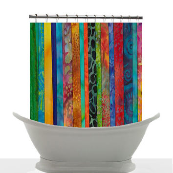 Artistic Shower Curtain - Travel to Bali - Jewel tone batik stripe ,artistic, blue, green, red, gold, art, decor, bath, home