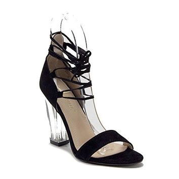Women's Lace Up Ankle Strappy Gladiator Clear Lucite Heels Sandals Shoes