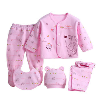 5 pcs Baby Clothes Sets Soft Cotton Unisex Boy Girl Clothing Spring Autumn Suits Outfits