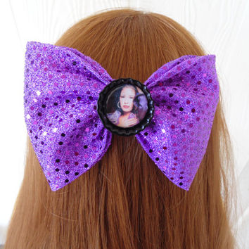 Hair bow / Selena / Selena Quintanilla / hair bow / girls hair bow / Purple Sequin bow / fabric bow / Tejano hair bow / fabric hair bow