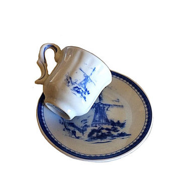 Delft Blue Teacup, Miniature Teacup, Holland Plate, Windmill Dutch Plate, Imperial Porcelain, Dutch Teacup, Miniature Teacup Collectible