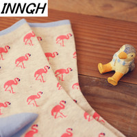 Foot 22-27cm Short Crew Cute Socks Pink Ash Animal Hot Flamingo Hit Fire Flame Bird Red Crowned Crane Wheat Flavor Wild Soft Zoo