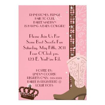 RHINESTONES, FRINGE & PINK 2 COWGIRLS Invitation from Zazzle.com