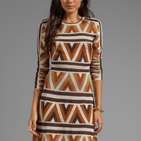 BCBGMAXAZRIA Long Sleeve Printed Dress in Camel Combo from REVOLVEclothing.com