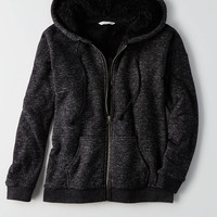 AEO Sherpa Lined Full Zip, Charcoal