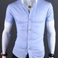 Blue Short Sleeves Shirt