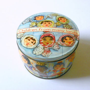 "Vintage Children's Tin ""Children From Many Lands"" Unique Kid's Tin, Made in England, 1960s"