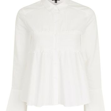 Poplin Shirt With Smocking - Tops - Clothing