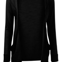 VIP Boutique Womens Black Boyfriend Pocket Cardigan