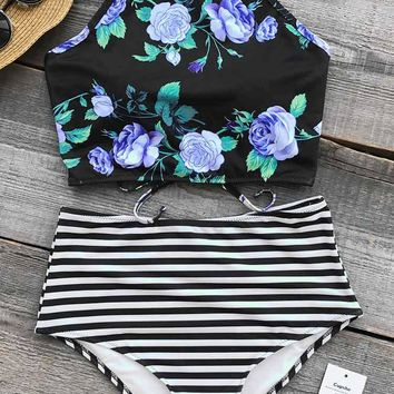 Cupshe Bloom In The Dream High-waisted Bikini Set