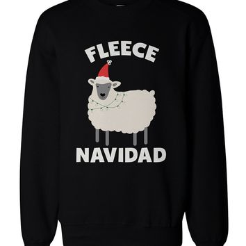 Fleece Navidad Funny Christmas Graphic Sweatshirts - Cute X-mas Pullover Sweater