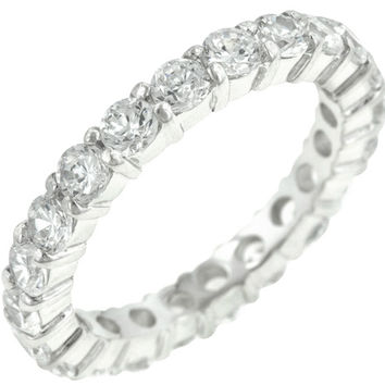 Elizabeth Clear Eternity Stackable Ring | 4ct | Cubic Zirconia | Sterling Silver