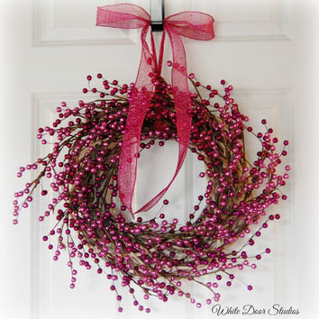 Pink and Purple Berry Wreath, Front Door Wreath, Winter Wreath, Holiday Wreath, Pink Wreath, Girls Room, Indoor Wreath