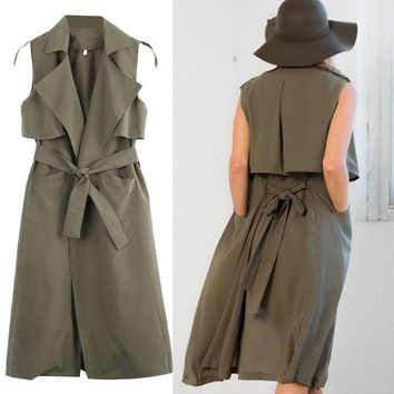 2016 Fashion Ladies Long Duster Womens Sleeveless Casual Waistcoat Belt Army Green Trench Clothes