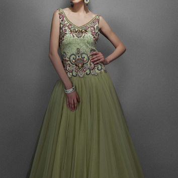 Dusky green color Indo Western bridal gown