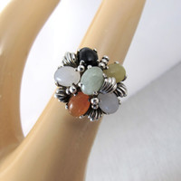 Sterling Jade Multi Color Cluster Ring, Jade Cabochon Cocktail Statement Ring, Vintage Sterling Silver Jade Jewelry, Size 7
