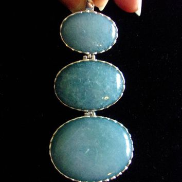 Sterling Silver Blue Chalcedony Pendant, Cabochons, CN LUC 925, Articulated 3 Sections, Large Vintage