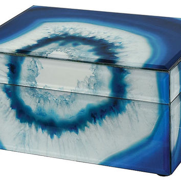 """8"""" Marara Jewelry Box, Blue/White - Finds Under $50 - Must-See Markdowns - Sale 