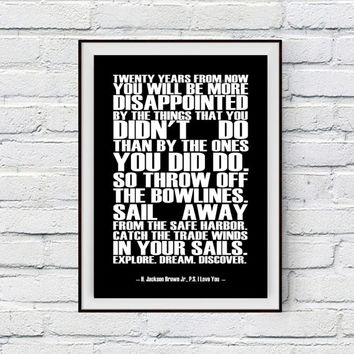 Inspirational Quote Poster, Dreams, H Jackson Brown Quote, Twenty years from now, Explore Dream Discover Printable Typography Wall Decor