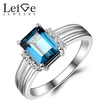 LEIGE JEWELRY LONDON BLUE TOPAZ RING STERLING SILVER 925 ENGAGEMENT WEDDING RINGS FOR WOMEN EMERALD CUT GEMSTONE FINE JEWELRY