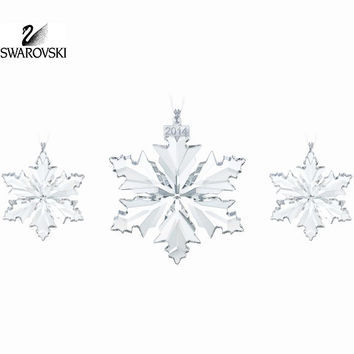 Swarovski Crystal Christmas SNOWFLAKES 2014 Ornaments Set of 3 #5059030