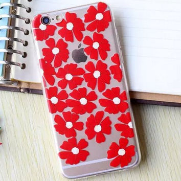 Hollow Out Red Flower iPhone 5se 5s 6 6s Plus Case Cover + Nice Gift Box 364