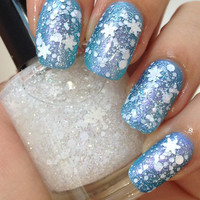 First Snow-Holiday/Christmas/Wi­nter Snowflake Glitter Indie Iridescent Nail Polish by Noodles Nail Polish