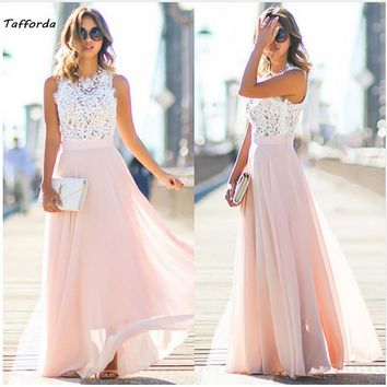 Tafforda Spring New Model Sexy Retro Lace Splicing Chiffon long Dress Wedding or Party Woman Dresses